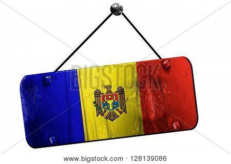 Moldova flag, 3D rendering, vintage grunge hanging sign