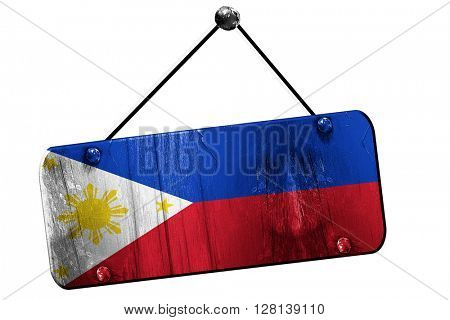 Philippines flag, 3D rendering, vintage grunge hanging sign