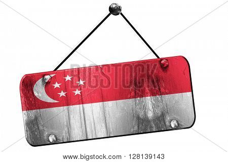 Singapore flag, 3D rendering, vintage grunge hanging sign