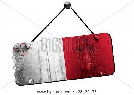 Malta flag, 3D rendering, vintage grunge hanging sign