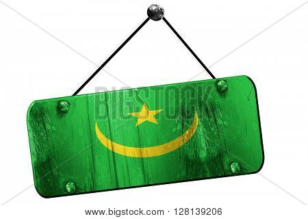 Mauritania flag, 3D rendering, vintage grunge hanging sign