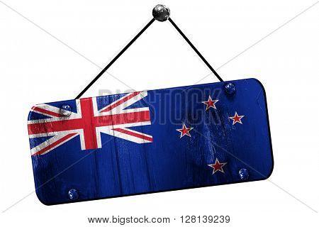New zeeland flag, 3D rendering, vintage grunge hanging sign