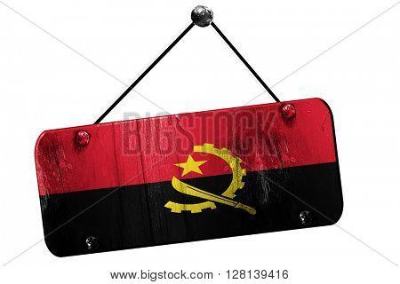 Angola flag, 3D rendering, vintage grunge hanging sign