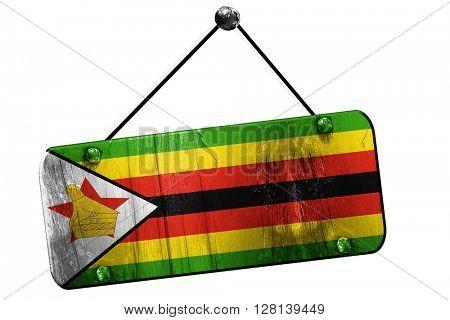 Zimbabwe flag, 3D rendering, vintage grunge hanging sign