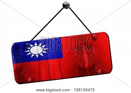 Republic of china flag, 3D rendering, vintage grunge hanging sig