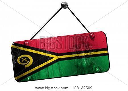 Vanatu flag, 3D rendering, vintage grunge hanging sign