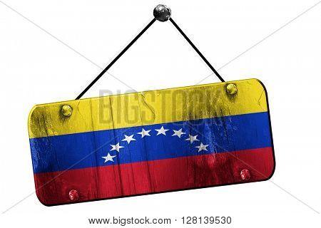 Venezuela flag, 3D rendering, vintage grunge hanging sign