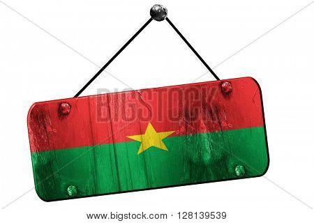 Burkina Faso flag, 3D rendering, vintage grunge hanging sign