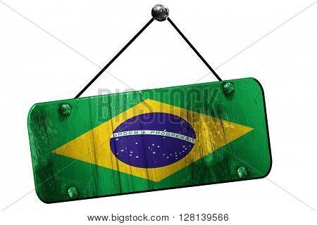 Brasil flag, 3D rendering, vintage grunge hanging sign