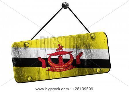 Brunei flag, 3D rendering, vintage grunge hanging sign