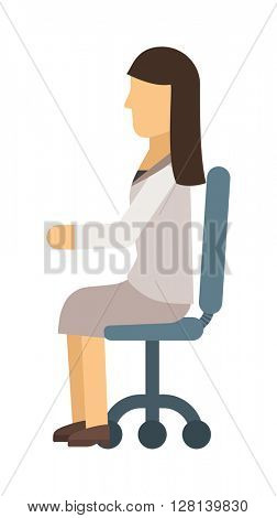 Woman sitting vector illustration.