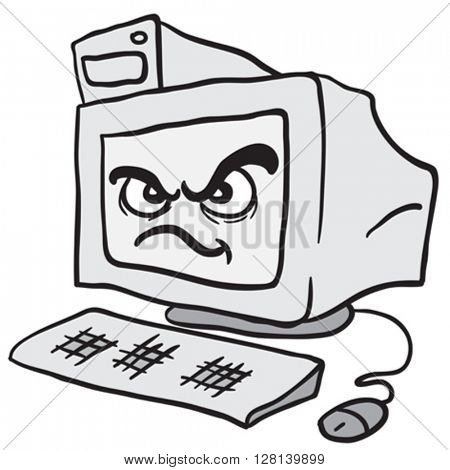 angry computer cartoon illustration