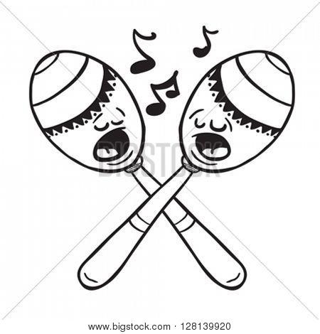 black and white maracas singing cartoon illustration
