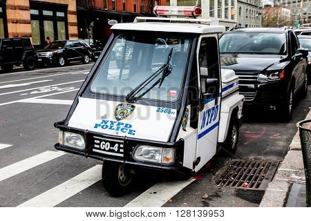 NEW YORK - April 8: NYPD Police vehicle view near Franklin street  on April 8, 2016 in New York, NY.
