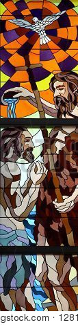 RIJEKA, CROATIA - JUNE 11: Baptism of Jesus, stained-glass window in the church of St. John the Baptist in Rijeka, Croatia, on June 11, 2011