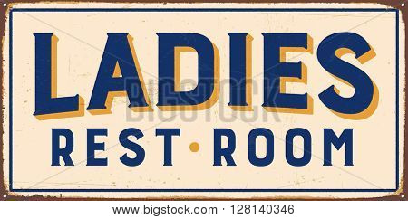 Vintage metal sign - Ladies Rest Room - Vector EPS10. Grunge and rusty effects can be easily removed for a cleaner look.