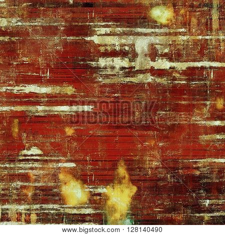 Retro background with vintage style design elements, scratched grunge texture, and different color patterns: yellow (beige); brown; gray; red (orange)