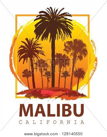 Travel Poster Malibu California. Summer Vacation and Palm Tree Background.