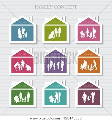 Conceptual Banner for Family. Vector Family Silhouettes. Habitation for Family.