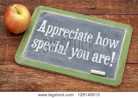 Appreciate how special you are! - positive words on a slate blackboard against red barn wood