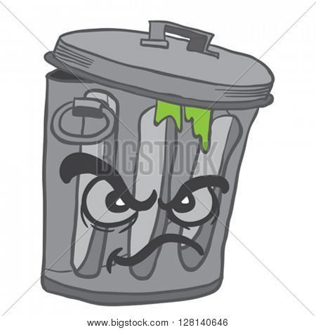 angry garbage can cartoon illustration isolated on white