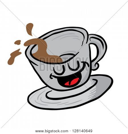 happy coffee cup spill cartoon illustration