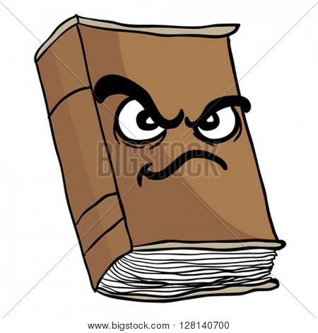 angry old book cartoon illustration