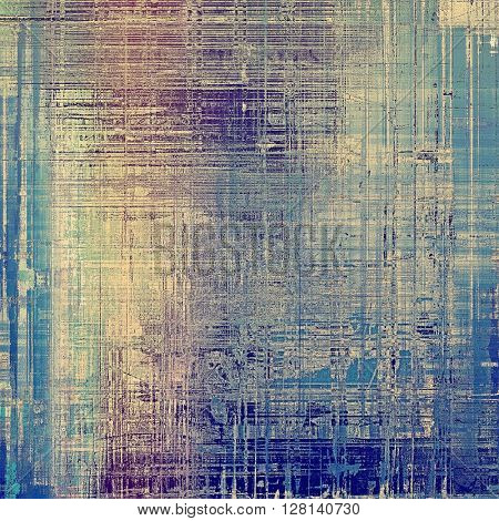 Old-style dirty background with textured vintage elements and different color patterns: yellow (beige); gray; blue; purple (violet); cyan