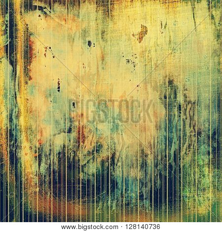 Old style decorative composition or designed vintage template with textured grunge elements and different color patterns: yellow (beige); brown; gray; green; blue; red (orange)
