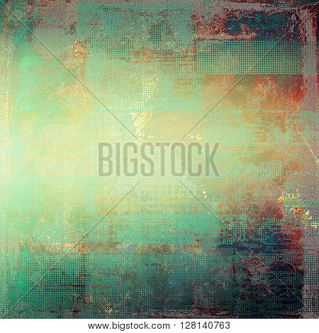Aged background or texture. Vintage graphic composition with grunge style elements and different color patterns: yellow (beige); green; blue; red (orange); purple (violet); cyan