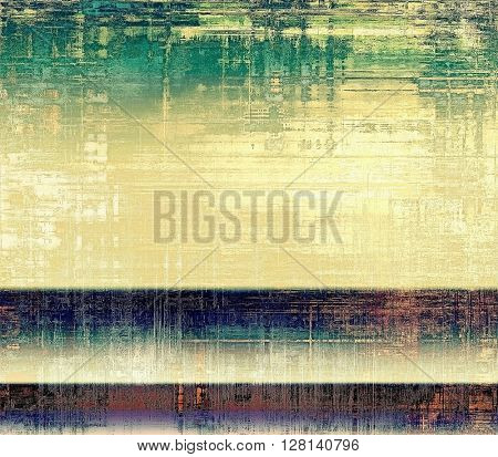 Art grunge background or vintage style texture with retro graphic elements and different color patterns: yellow (beige); brown; gray; green; blue; cyan