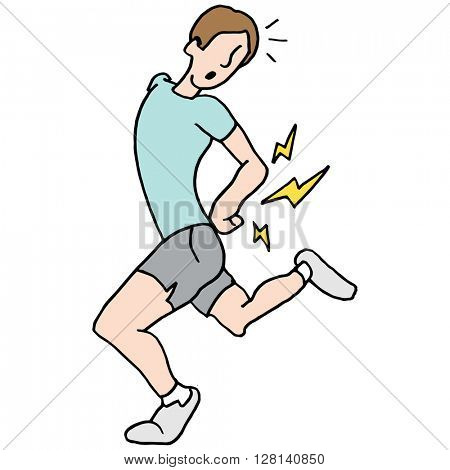 An image of a running man having back pain.