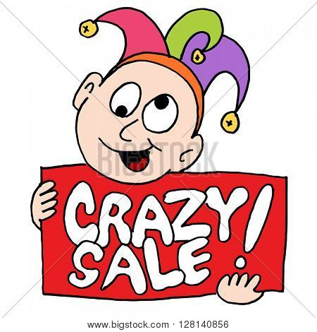 An image of a crazy sale sign with jester.