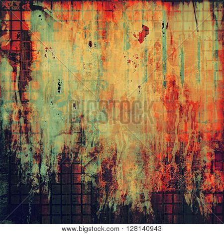 Retro abstract background, vintage grunge texture with different color patterns: yellow (beige); brown; red (orange); pink; black; cyan