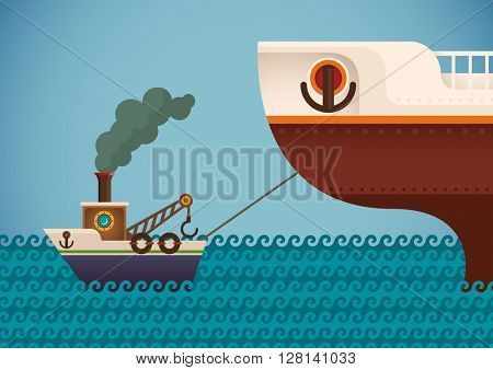 Tugboat pulling a ship. Vector illustration.