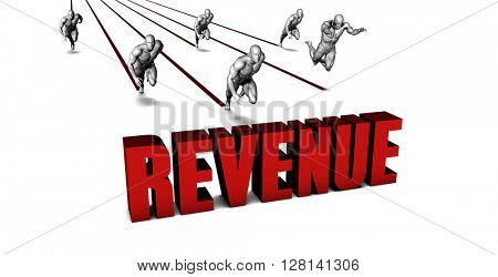 Higher Revenue with a Business Team Racing Concept 3D Illustration Render