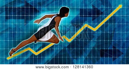 Black Businesswoman Running with Chart Graph Background Art 3D Illustration Render