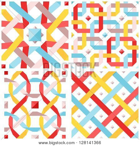 Chic vector seamless pattern with flat ribbons. Geometric background with interwoven pastel colored strips. Vector illustration. Blue red and yellow crossed tape. Colorful modern seamless background