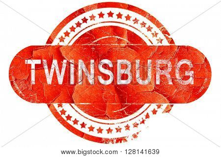twinsburg, vintage old stamp with rough lines and edges