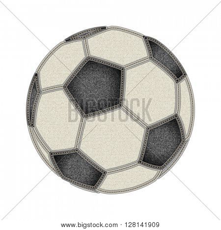 Soccer ball on white background. Jeans and soccer concept. Denim background for soccer championship. Fashion and Soccer. Vector illustration