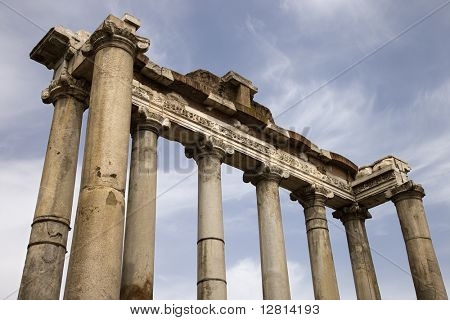 Architectural structure in the Roman Forum ruins, Rome, Italy.