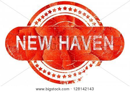 new haven, vintage old stamp with rough lines and edges