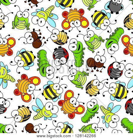 Funny cartoon insects characters seamless pattern with cute little bees and flies, sunny orange butterflies, bright green caterpillars, dragonflies and grasshoppers, striped bugs, shy ladybugs and busy brown ants