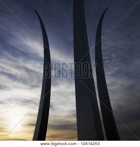 Three spires of Air Force Memorial in Arlington, Virginia, USA.