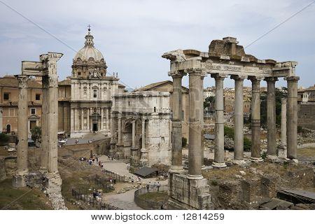 Roman Forum ruins in Rome, Italy.