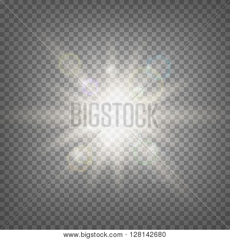 Summer sun light effect on transparent background. Summer sun template. Hot summer sun illustration. Stock vector.