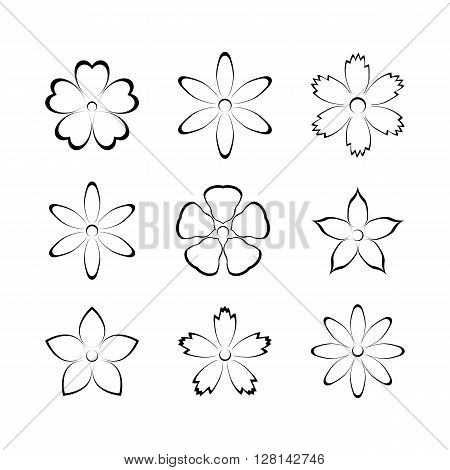 Flower buds vector design elements isolated on white background first set.