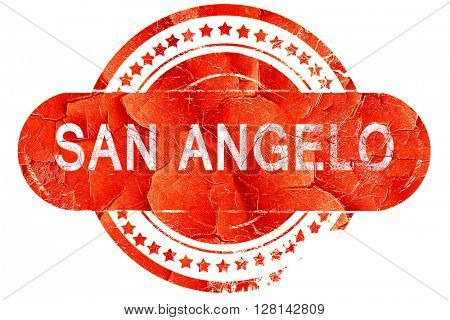 san angelo, vintage old stamp with rough lines and edges
