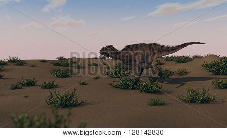 3d illustration of running majungasaurus