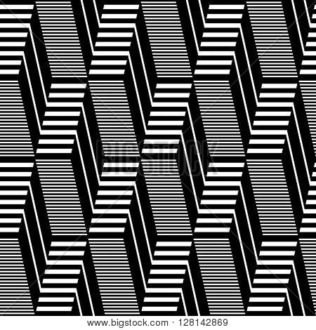 Seamless geometric op art pattern. Lines texture. Vector art.